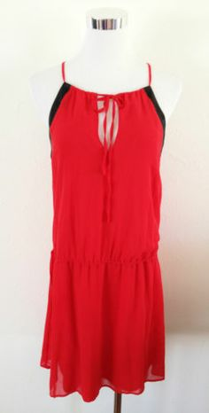 NWT ZARA TRF COMBINATION DRESS WITH BOW Navy RED SIZE M