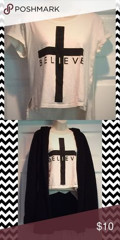 """Believe"" off-white tshirt! 100% Cotton.  Worn once. Forever 21 Tops Tees - Short Sleeve"