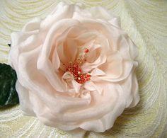 Silk Cabbage Rose Ivory Pale Blush NOS Vintage by APinkSwan