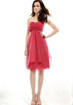 Chic Chiffon Sweetheart Empire Knee Length Flowers Bridesmaid Dress picture 1