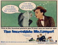 1964, The Incredible Mr. Limpet.  Don knotts, what a funny actor.   I remember watching this when I was a LOT younger.  I was so engaged in the fantasy of it,  I got pretty upset when the movie was interrupted by a special news report. .. We had just landed on the moon.   Ha ha ... Well,  guess I wasn't into man walking on the moon.   Simpler times for me.   CJ