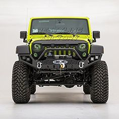 Restyling Factory 07-16 Jeep Wrangler JK Rock Crawler Full Width Front Bumper with Built-In Winch Plate & LED Light Mounting Hole & 2x D-Ring (Black)
