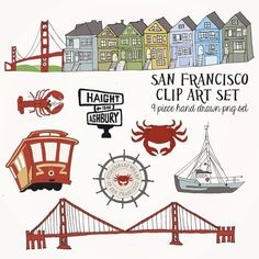 INSTANT DOWNLOAD San Francisco Clip Art Set by TheMeekBoutique, $4.00