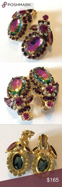 Vintage Juliana D&E Watermelon Floweret Earrings Vintage confirmed Juliana DeLizza & Elster large watermelon, purples/ pinks, and aurora borealis art glass rhinestones with brilliant regal royal floweret designs. Rivet and figure 8 puddling under clips. Gold plated. Outstanding condition with a little crackling behind largest stones; as shown in last picture. Vintage Jewelry Earrings