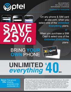 PTel Mobile Discounts & Coupons exclusively for students! - StudentRate.com Deal - Save 25% off your purchase of Unlimited EVERYTHING service!