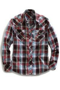 Tin Haul® Mens' Long Sleeve Red Check-it-out Plaid Snap Shirt
