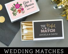 Celebrate the Bride and Grooms big day with custom matches for your guests to use as lights for sparklers, the groomsmen to light a cigar, and so much more!   Details: Quantity: 50 Matchboxes Each matchbox contains approximately 20 match sticks Measures 2.25 l x 1.38 w x 0.37 h   ◘◘◘◘◘◘◘◘◘◘◘◘◘◘◘◘◘◘◘◘◘◘◘◘◘  Available for purchase in two ways:  ♥Self Assembly-DIY  Labels come unattached but are easy to assemble with self-adhesive labels. ♥Assembled and arrive to you ready to light!  Note: If…