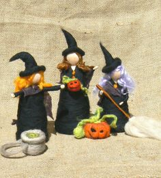 Halloween Witch with a broom Waldorf inspired  by CloudBerryCrafts, $32.00