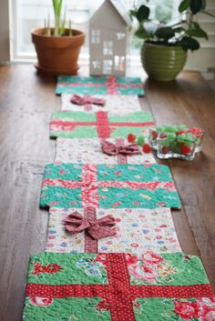 Quilting in the Rain - quilt as you go table runner from author of Quilt as you go Made Modern!
