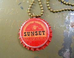 Fallout New Vegas Sunset Sarsaparilla Bottle Cap Necklace