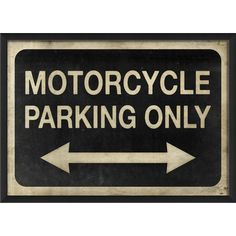 Blueprint Artwork Motorcycle Parking Only Wall Art
