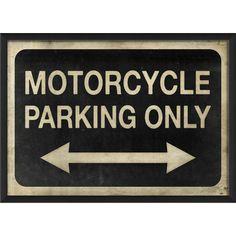 Blueprint Artwork Motorcycle Parking Only Wall Art