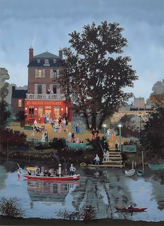 Naive Painting by Michel Delacroix French Artist
