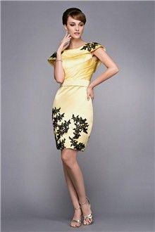 Sheath/Column Bateau Knee-length Satin Evening Dress