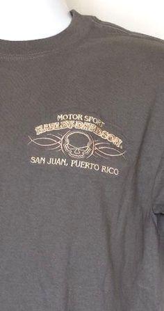 Harley-Davidson Motorsport Gray San Juan Puerto Rico Embroidered Logo T-Shirt M #HarleyDavidson #EmbellishedTee