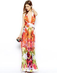 Imagen 4 de Plunge siempre Único cuello vestido maxi en tropical de la impresión floral