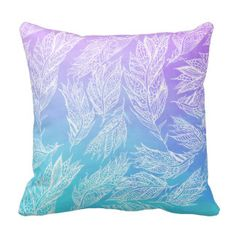 Handdrawn paisley feathers Purple Teal Watercolor Cushion