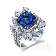 Blue sapphire and diamond ring. R3595 by Parade Design.