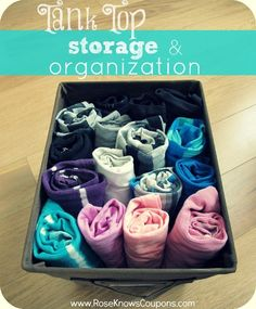 A super easy way to store and organize your tank tops! No more messy shelves or drawers!
