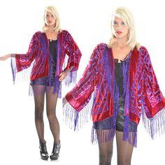 Silk Burnout Velvet Fringe Red Purple Hippie by SaldanaVintage