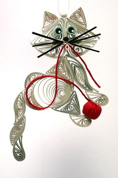 Quilled / Filigree Kitty Cat Hanging Ornament: