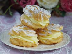 Venčeky s mascarpone krémom Profiteroles, Eclairs, Czech Recipes, Oreo Cupcakes, Apple Pie, Sweet Recipes, French Toast, Cheesecake, Health Fitness