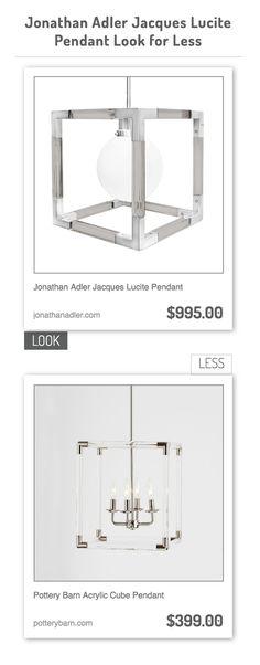 Jonathan Adler Jacques Lucite Pendant vs Pottery Barn Acrylic Cube Pendant