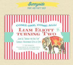 Vintage Style Circus Birthday Invitation