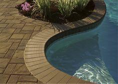 Update your pool patio with beautiful Cambridge Pavingstones with ArmorTec. Splash Splash, it's time to update your pool patio. Pool Pavers, Pool Coping, Poured Concrete, Landscape Walls, Paving Stones, Outdoor Living, Outdoor Decor, Garden Beds, Cambridge
