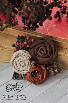 """Броши ручной работы. Ярмарка Мастеров - ручная работа. Купить Брошь """"Ореховый шоколад"""". Handmade. Комбинированный, текстильная брошь"""