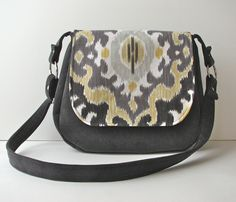 Cross Body Satchel Purse in Charcoal Grey and Yellow Ikat with grey corduroy.