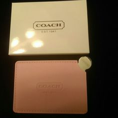 Coach Pink Faux Leather Mirror Card Holder New in box. Coach Accessories Key & Card Holders