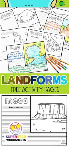Landforms Worksheet, Geography Worksheets, Homeschool Worksheets, Science Worksheets, Science Lessons, Kindergarten Worksheets, Worksheets For Kids, Science Experiments, Types Of Science
