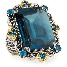 Konstantino Thalassia Emerald-Cut London Blue Topaz Cocktail Ring ($2,205) ❤ liked on Polyvore featuring jewelry, rings, accessories, blue, konstantino jewelry, london blue topaz cocktail ring, 18 karat gold ring, statement rings and konstantino ring