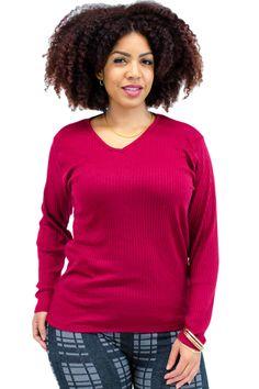 Plus Size Ribbed Knit V-Neck Long Sleeve Tee
