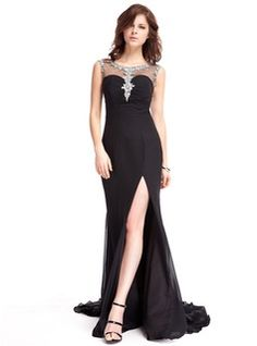 A-Line/Princess Scoop Neck Watteau Train Chiffon Tulle Evening Dress With Beading (017022823) - JJsHouse