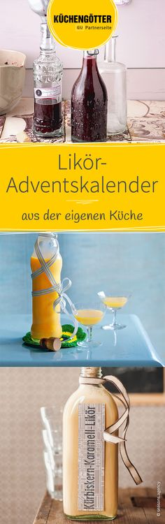 Liqueur advent calendar from your own kitchen – make Advent calendar yourself - How To Crafts Christmas Mocktails, Alcoholic Drinks, Cocktails, Advent Calendar, Diy And Crafts, Food And Drink, Eat, Cooking, Glass