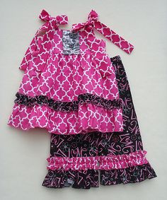 Sew Childish Pink & Black Quatrefoil Top & Pants - Infant, Toddler & Girls | zulily
