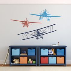 Biplane Monoplane Wall Decal 3 Airplanes Wall Decal by PonyDecal