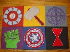 I made some Avengers string art!  (July 2014)
