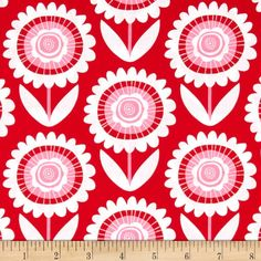 Michael Miller Sweetheart Hello Sunshine Red from @fabricdotcom  Designed for Michael Miller, this cotton print fabric is perfect for quilting, apparel and home decor accents. Colors include red, pink, and white.
