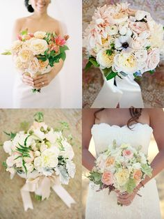 bottom right bouquet: pale pink and white ranunculus and white peonies... lose the dusty miller plant and add some baby's breath :)
