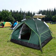 Instant Automatic Pop Up Backpacking Camping Hiking 3-4Persons Tent Green G8I9 #docooler