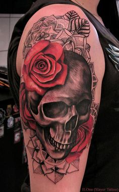 Skull and roses tattoo - 100 Awesome Skull Tattoo Designs  <3 <3