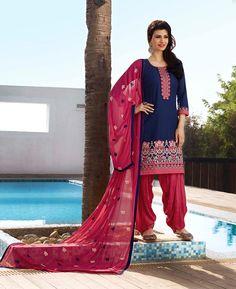 Navy Blue Cotton Cambric Punjabi Suit 68123