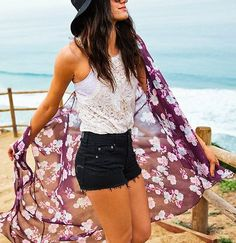 AEO Floral Kimono - Summer Burgundy - American Eagle Outfitters
