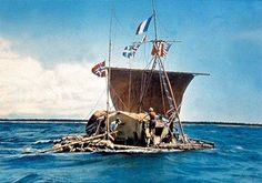 Thor Heyerdahl's Kon-Tiki left south america April 1947 - b. 1914 in Larvik, Norway; adventurer & ethnographer; noted for his 1947 Kon-Tiki voyage of 8000 miles across the Pacific Ocean in hand built raft from S. American to Tuamotu Islands to demonstrate how ancient peoples could have made long sea voyages to separate cultures.