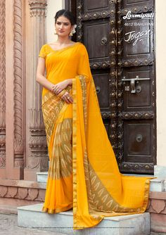 🛒Shop this Yellow with Unstitched Blouse by Design number 4612 JOGAN Laxmipati Sarees, 11 August, Printed Sarees, Happy Weekend, Daily Wear, Bridal Collection, Kurti, Print Design, Number