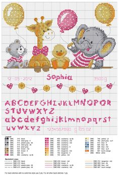 fiocco nascita animali baby punto croce alfabeto