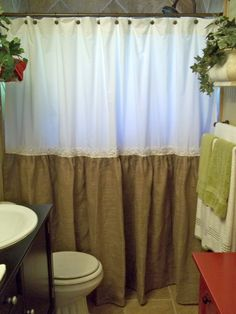 Shabby Floral Trim  Burlap Shower Curtain  by SimplyFrenchMarket, $80.00